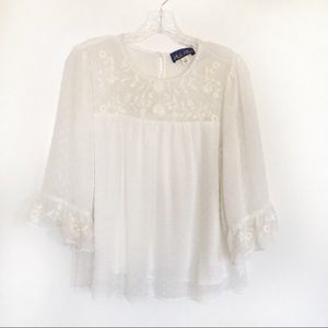 Blue Rain shirt ivory swiss dot floral embroidered